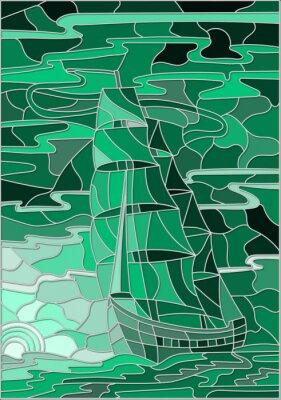 Nálepka Ilustrace v vitráže stylu s plachetnice proti obloze, moře a zapadajícím sun.Green verze