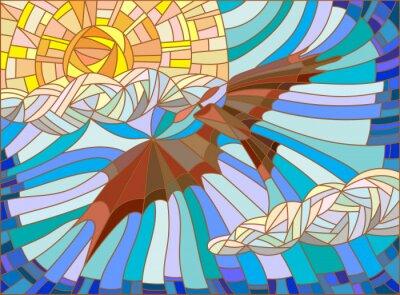 Nálepka Ilustrace v vitráže stylu s vintage letadla na obloze mraky a slunce