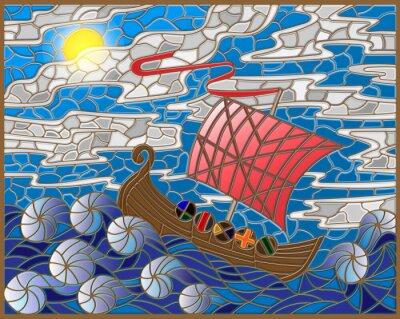 Nálepka Ilustrace v vitráže stylu se starožitným lodí proti moře, nebe a slunce