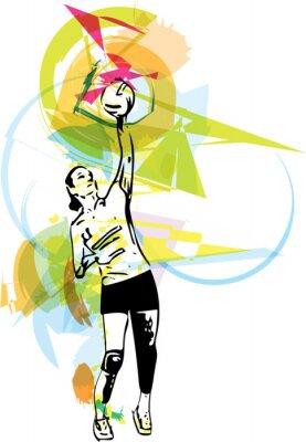 Nálepka Ilustrace volejbalový hráč hraní