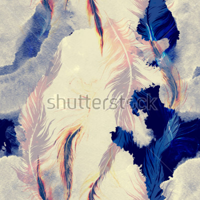 Nálepka imprints flying bird feathers mix seamless pattern. abstract watercolour and digital hand drawn picture. mixed media artwork for textiles, fabrics, souvenirs, packaging and greeting cards.