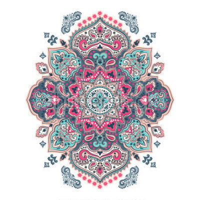 Nálepka Indian floral paisley medallion pattern. Ethnic Mandala ornament. Vector Henna tattoo style. Can be used for textile, greeting card, coloring book, phone case print.
