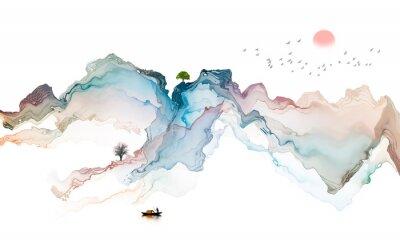 Nálepka Ink landscape decoration illustration abstract line poster background