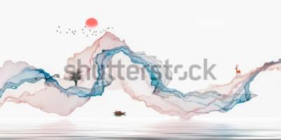 Nálepka Inkoust, umělecká krajina, pozadí abstraktní čáry
