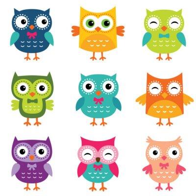 Nálepka Isolated cartoon owls collection