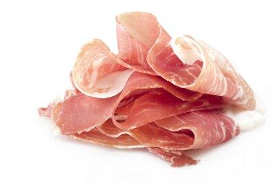 Nálepka Italian prosciutto crudo ,raw ham leg sliced on white