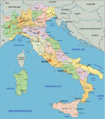 Nálepka Itálie - velmi podrobné editovatelné politická mapa s oddělenými vrstvami.