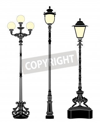 Nálepka Italští kované elegantní pouliční lampy