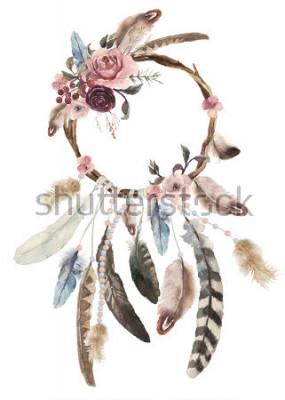 Nálepka Izolované akvarel dekorace bohémský dreamcatcher, boho peří dekorace, nativní sen elegantní design, tajemství etnické kmenové tisk, americká kultura design, cikánské ornament, lapač snů  t