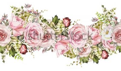 Nálepka izolované Bezešvé hranice s růžovými květy, listy. ročník akvarel květinový vzor s listy a růže. Pastelová barva. Bezešvé květinový okraj, kapela na karty, svatební nebo textilie.