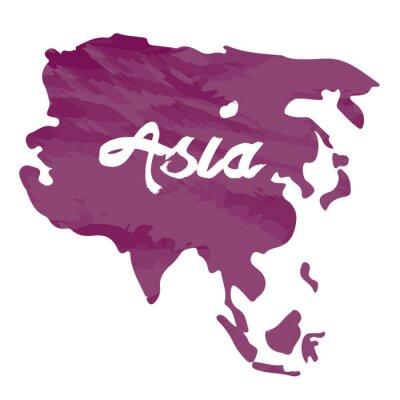 Nálepka Izolované mapa Asii na bílém pozadí, vektorové ilustrace