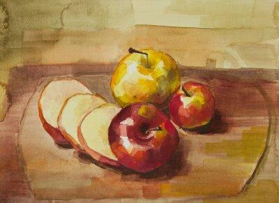 Nálepka Jablka na prkénko zátiší akvarelu
