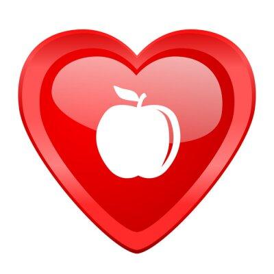 Nálepka jablko červená srdce miláček lesklý web ikona