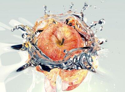 Nálepka jablko faling a stříkající do vody