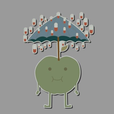 Nálepka jablko s deštníkem a dešťovými tablet