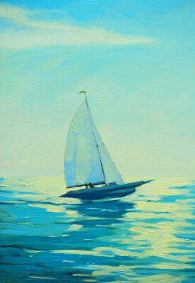 Nálepka jachty s plachtami na ranní středozemní moře, malování
