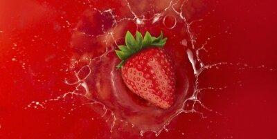 Nálepka jahody stříkající do červeného šťáva kapalina