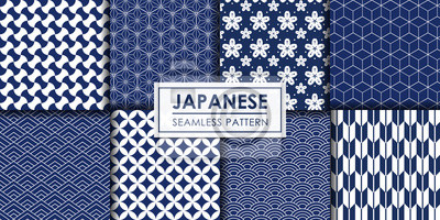 Nálepka Japanese seamless pattern collection, Decorative wallpaper.