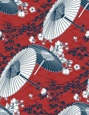 Nálepka japanese traditional vector illustration sakura umbrella pattern red