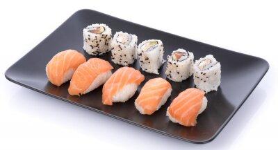 Nálepka Japonské sushi nastavit na černé desce