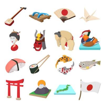 Nálepka Japonsko ikony set