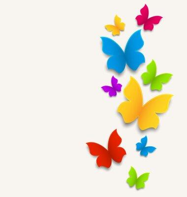 Nálepka Jarní karta s motýly, pestré složení