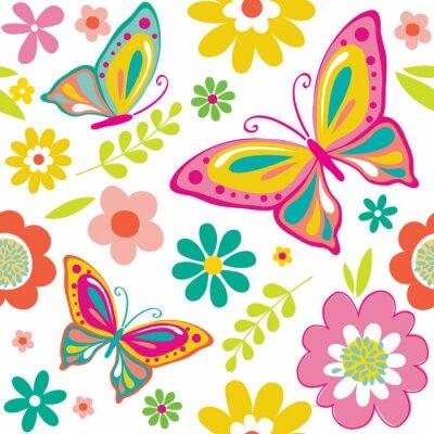 Nálepka jarní vzor s roztomilými motýly vhodných pro dárkový balicí papír nebo tapety na pozadí. EPS 10 & HI-RES JPG v ceně
