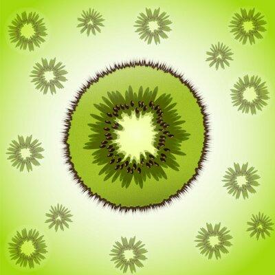 Nálepka Jediný kus kiwi na ovoce pozadí