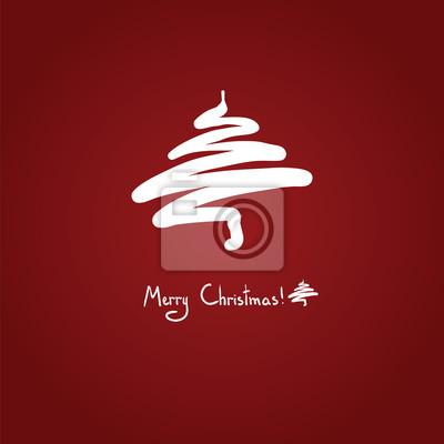 Jednoduché vánoční strom, kapka, ikona, bílé na červenou, skica, karty