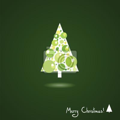 Jednoduché vánoční strom, trojúhelník, odstíny zelené, karty