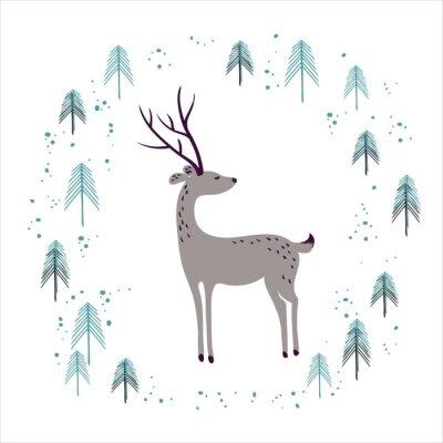 Nálepka Jelen v zimě borovicového lesa na bílém.