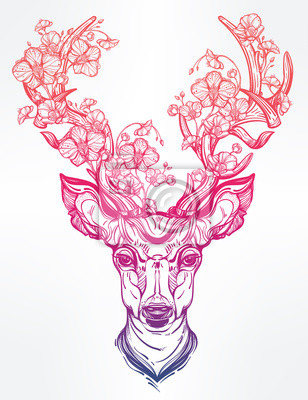 Nálepka Jelení hlava s květinami v souladu umělecký styl.