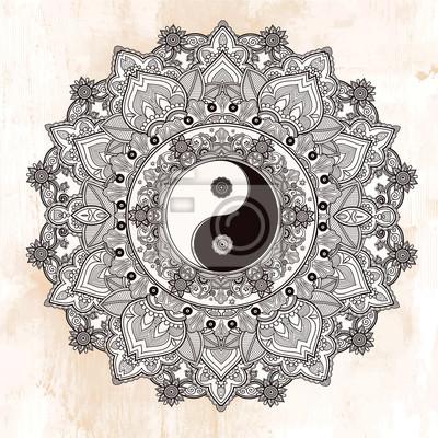 Nálepka Jin a Jang mandala symbol.