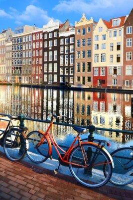 Nálepka Jízdní kola podél kanálů s odrazy, Amsterdam, Nizozemsko
