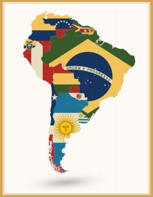 Nálepka Jižní Amerika Mapa s vlajkami a vintage barvy