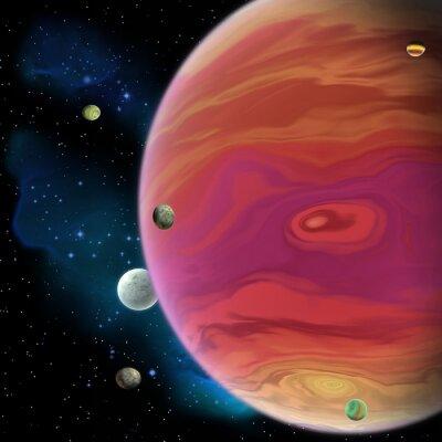 Nálepka Jupiter Planet - Jupiter je největší plynové obří planety v naší sluneční soustavě s 67 měsíců a má velkou červenou skvrnu vír pod rovníkem.