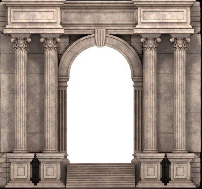 Nálepka Kamenné kroků a způsob vstupu s korintskými sloupy. 3d render.