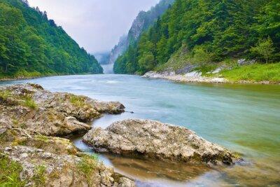 Nálepka Kameny na břehu řeky v horách. Dunajec River Gorge