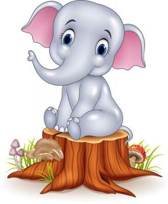 Nálepka Karikatura legrační dítě slon sedící na pařezu
