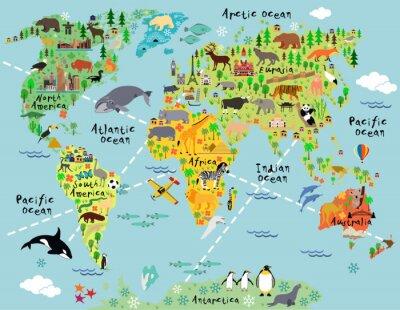Nálepka Karikatura mapa světa