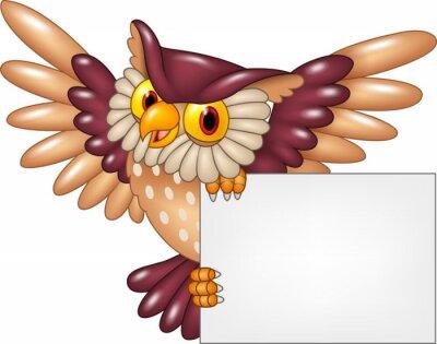Nálepka Karikatura sova pták létání drží prázdný znak