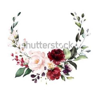 Nálepka Karta. Akvarel pozvání design s vínové a červené růže, listy. květina, pozadí s květinovými prvky, botanické akvarel ilustrace. Vintage šablona. věnec, kulatý rám