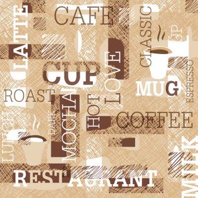 Nálepka Káva s motivem Seamless pattern. Slova, šálky kávy, a kreativní čmáranice. Béžové a hnědé gamut. Abstraktní pozadí pro design kavárny nebo restaurace značky.