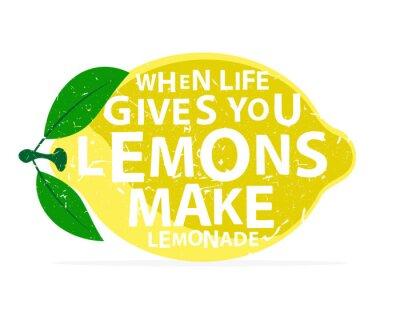 Nálepka Když vám život dává citrony, aby limonádu - kaligrafie