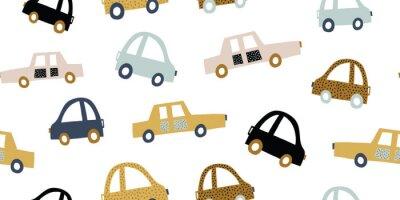 Nálepka Kids handdrawn seamless pattern with colorful cars