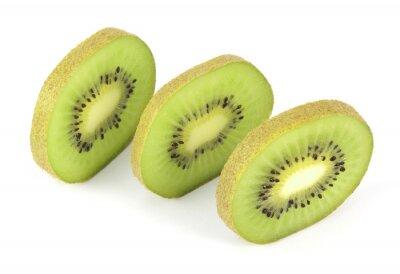Nálepka Kiwi fruit sliced segments isolated on white background