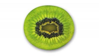 Nálepka Kiwi plátek, tropické ovoce střih na polovinu na bílém pozadí