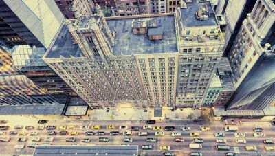 Nálepka Klasická fotografie New York ulice ze střechy