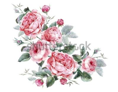Nálepka Klasické vintage květinové přání, akvarel kytice anglických růží, krásné akvarel ilustrace