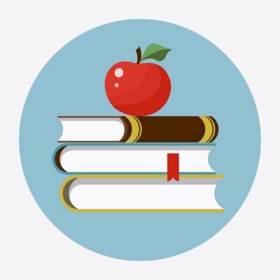 Nálepka Knihy s jablečným plochým ikonou